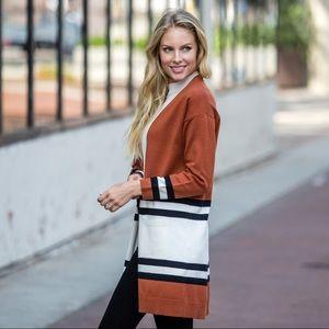 Sweaters - Colorblock Striped Cardigan